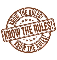 Know the rules brown grunge round vintage rubber vector