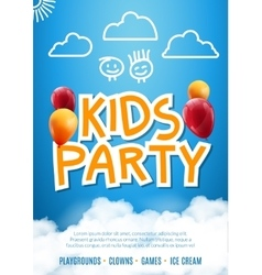 Kids party invitation design poster template Kids vector image