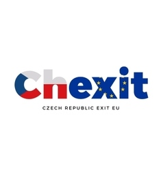 Chexit - czech republic exit from european union vector