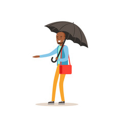 african american man standing with open black vector image vector image