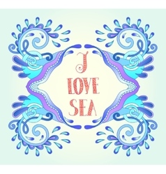 aquatic blue frame with wave sparks and drops vector image