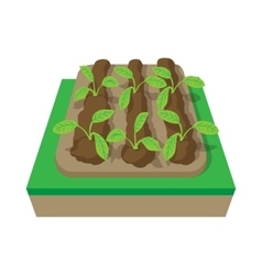 Beds with plants cartoon icon vector