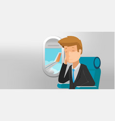 business man view airplane window vector image