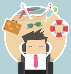 Businessman dreaming about his vacation vector image