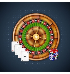 Cards chips and roulette vector image vector image