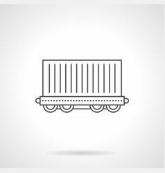 cargo wagon flat line icon vector image vector image