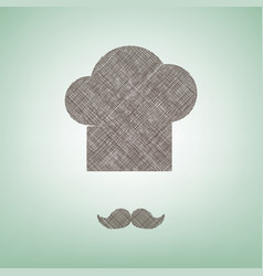 chef hat and moustache sign brown flax vector image vector image