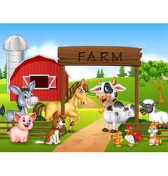 Farm background with animals vector