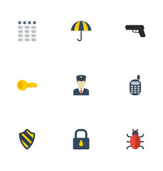 flat icons policeman keypad parasol and other vector image vector image