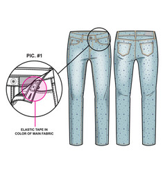 Front and back sides of pants vector