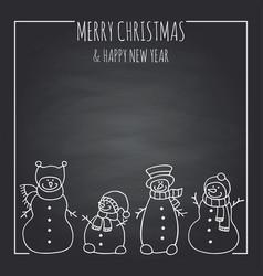 Funny snowmen on a black board vector