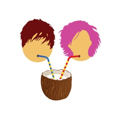 Girl and boy drink coconut milk part two vector