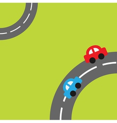 Grass with two roads in the corners cartoon car vector