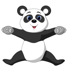 Happy panda cartoon vector image