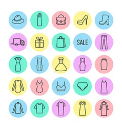 icons set of womens clothing and accessories vector image