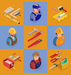 Isometric interior repairs icons set worker vector