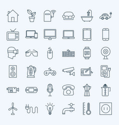 Line household appliance icons vector