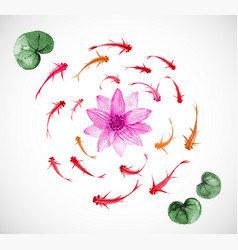 Little fishes and pink lotus flowers hand drawn vector