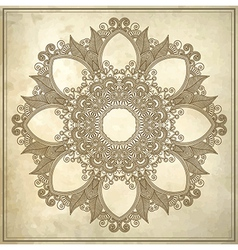 Ornamental circle floral pattern in grunge backgro vector