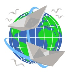 Paper boats sail around the planet Earth vector image