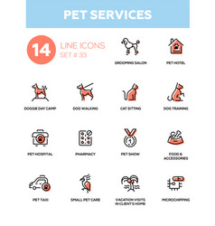 Pet services - modern single line icons set vector