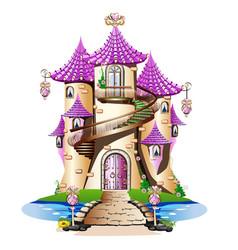 Pink fairytale castle vector
