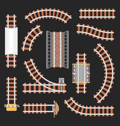 rail or railroad railway top view vector image vector image