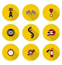 set of flat icons race vector image