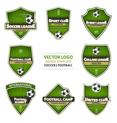 set of green soccer logo football logotype vector image