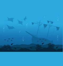 Silhouette of big ship stingray underwater vector