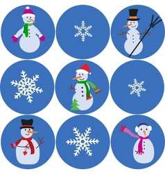 snowman and snowflake collection vector image