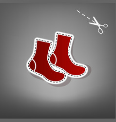 Socks sign red icon with for applique vector