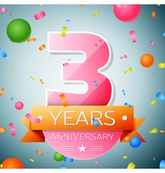 Three years anniversary celebration background vector