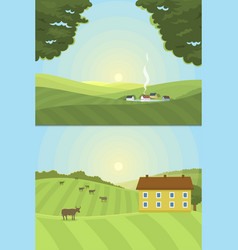 village landscapes farm house vector image vector image