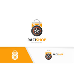 Wheel and shop logo combination tire and vector