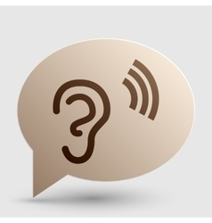 Human ear sign brown gradient icon on bubble with vector