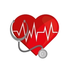 Heart cardiogram and stethoscope icon vector