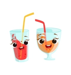 Sweet drinks in glasses kids birthday party happy vector