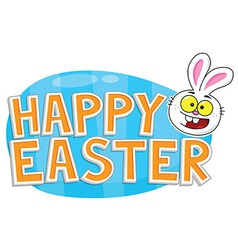 Happy easter text bunny and egg vector