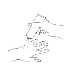 Hands with cosmetic cream tube vector