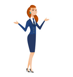Caucasian confused stewardess with spread arms vector