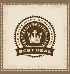 Vintage best deal label vector