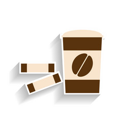 Paper cup with coffee and sugar sachets flat vector