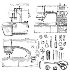 Hand drawn sketch sewing set vector