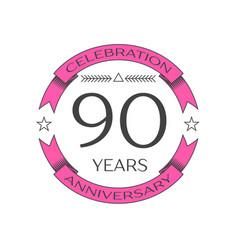 Realistic ninety years anniversary celebration vector