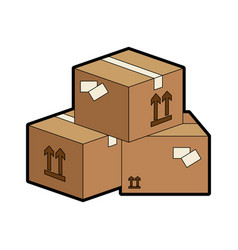 delivery boxes piled up vector image