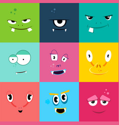set of cartoon monsters faces with different vector image