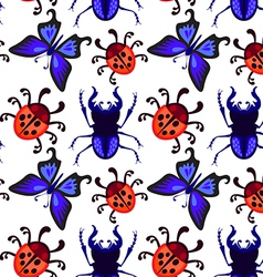 Ladybug butterfly and beetle seamless pattern vector