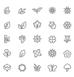 Set of outline stroke natural icons vector