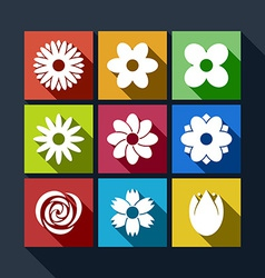 Set of flower icons with long shadow vector